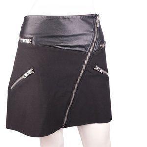 MANGO Zipper Raw Hem Mini Skirt Black - Sz 10